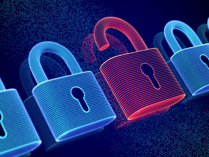 Shows opened padlock to represent security threat