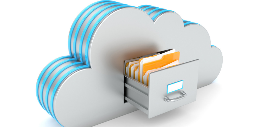 Cloud backup and disaster recovery - Cloud like filing cabinet, hosting or database with folders isolated on white background.